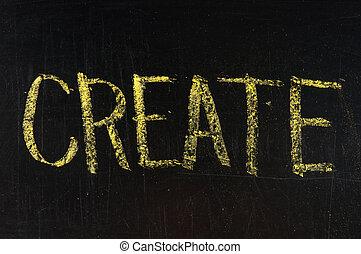 create written on blackboard , high resolution