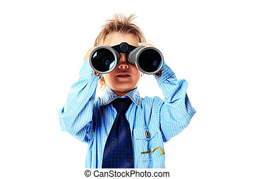 search experiment - Curious little boy is looking through...