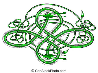 Celtic knot dragon; - A green dragon in the form of a Cletic...