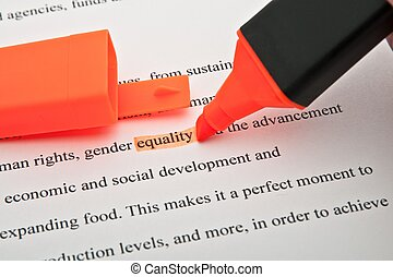 Equality highlighted - The word Equality highlighted orange...