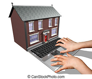 Internet housebuying - A laptop merged into a house...