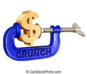 Squeezing the Dollar - Illustration of a dollar symbol being...