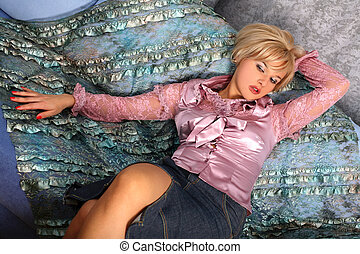 woman at sofa