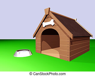 The Doghouse - 3D illustration of a large wooden doghouse or...