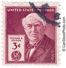 USA - CIRCA 1985 : stamp printed in USA shows Thomas Edison...