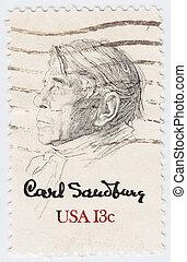 quadro, unidas, sandburg, EUA, 1978, selo, :, -, Estados,...