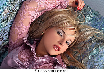 Woman laying on the sofa
