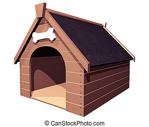 The Doghouse isolated - 3D isolated illustration of a large...