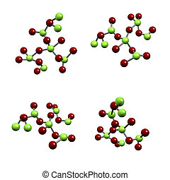 Chemical Compound Structure of Molecules Isolated on a White...