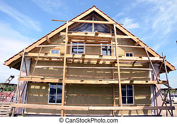 house thermal insulation with mineral rockwool - wooden...