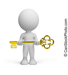 3d person with a key - 3d person with a gold key in hands.3d...