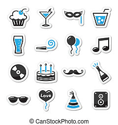 Holidays and party icons set as lab - Black and blue icons...