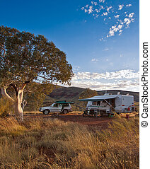 Campsite in the Outback - Portrait shot of a 4WD and offroad...