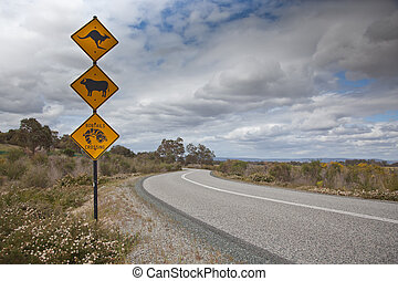 Street Signs - Unusual street signage to the left of a...