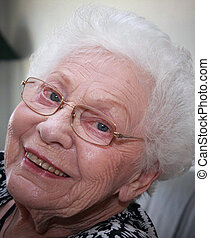 Happy Grandmother - Facial shot of a grandmother with...