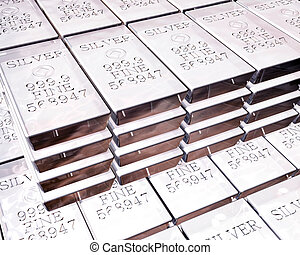 stacks of silver bars - stacks of pure silver bars on piles...