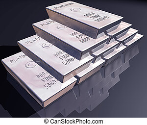 Stack of platinum bars - stack of pure platinum bars on a...