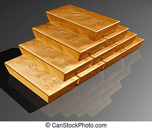 Stack of pure gold bars on a reflective surface.