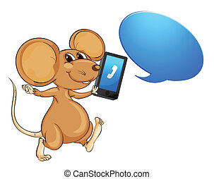mouse, mobile and call out - illustration of a mouse, a...