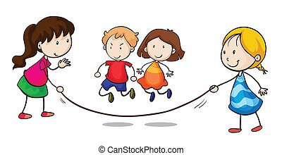 Skipping - Illustration of a group skipping