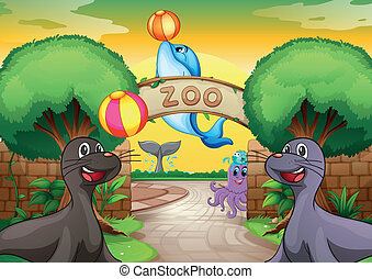 sea animals in zoo - illustration of sea animals in zoo in a...