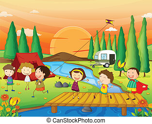 kids playing in nature - illustration of kids playing in...