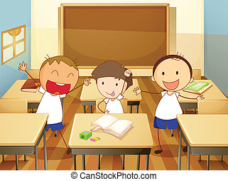 kids in classroom - detailed illustration of kids in a...