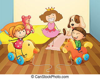 Bedroom playing - Illustration of a kids in bedroom
