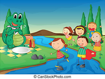 kids and crocodile at picnic - illustration of kids and...