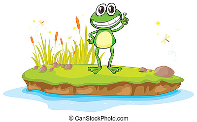 a frog and a water - illustration of a frog and a water on a...