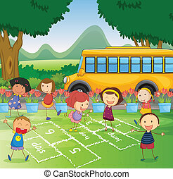 Hopscotch in park - Illustration of a park scene with...