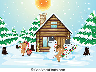a house, snowmen and reindeers