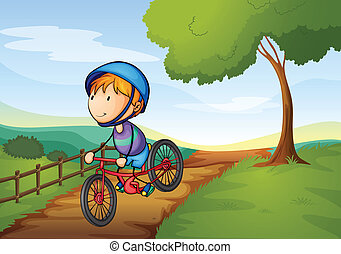 a boy and a bicycle - illustration of a boy and a bicycle in...