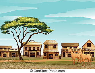 horses and a house - illustration of horses and a house in a...