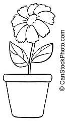 Black white flower - Illustration of a simple flower