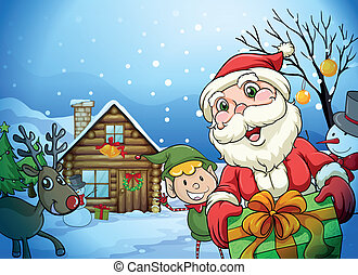a house, a santa claus and a reindeer - llustration of a...