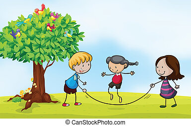playing in the park - Illustration of a park scene with kids...