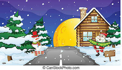 santa clause and snowman - illustration of santa clause and...
