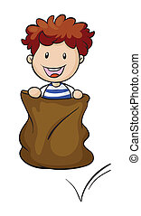 Sack racer - Illustration of a sack race