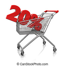 20 percent in cart - Red twenty percent placed in shop cart...