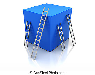 Success concept - Blue cube with ladders, concept success