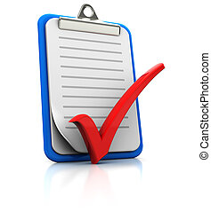 Clipboard with checkmark on white background, 3d image