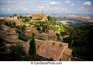 Montalcino town Italy - Montalcino town from above Tuscany,...
