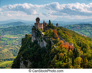 San Marino tower. Italy - Tower at San Marino town on Monte...