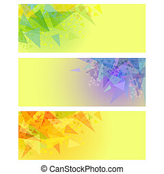 Vector abstract yellow banners with triangles - Vector...