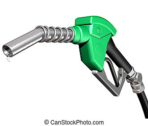 Dripping gas pump nozzle - Isolated illustration of a...