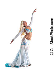 blond woman dance in white oriental costume