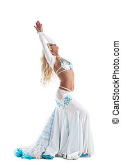 arabian dancer in white costume with long hairs