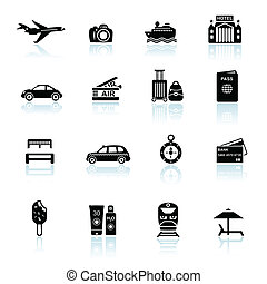 Travel icons black on white with reflections. Silhouettes of...