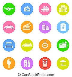 Travel icons in color circles isolated on white background